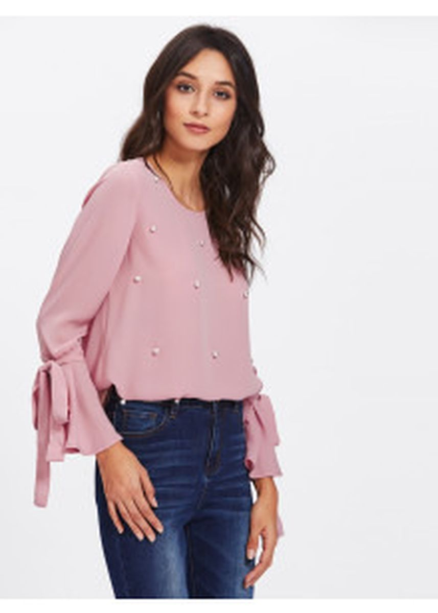 Pink color Tops and Tunics . Pearl Embellished Bow Tied Bell Cuff Blouse -