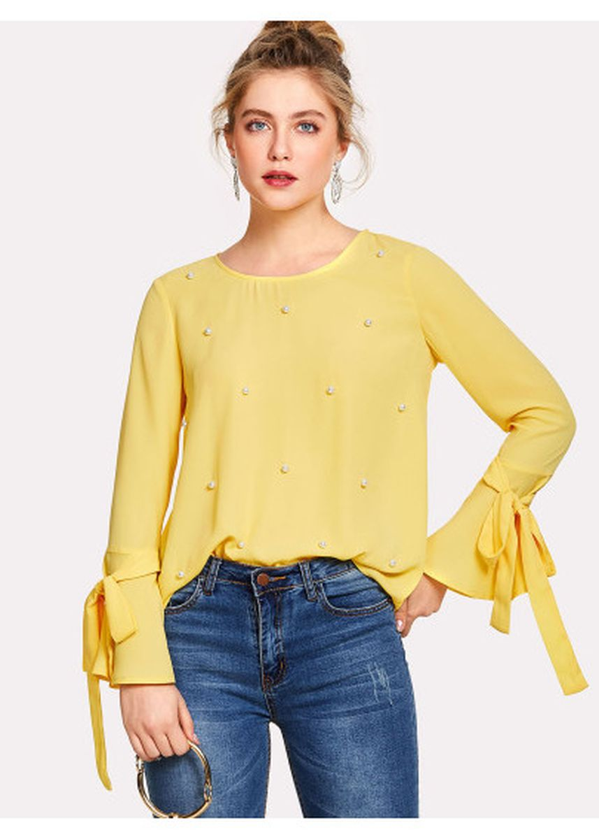 Yellow color Tops and Tunics . Pearl Embellished Bow Tied Bell Cuff Blouse -