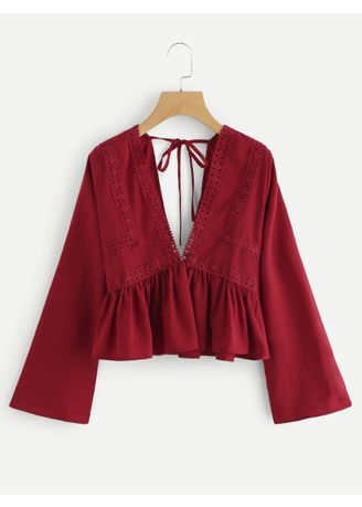 Red color Tops and Tunics . Plunging V-neckline Lace Trim Self Tie Frill Top -