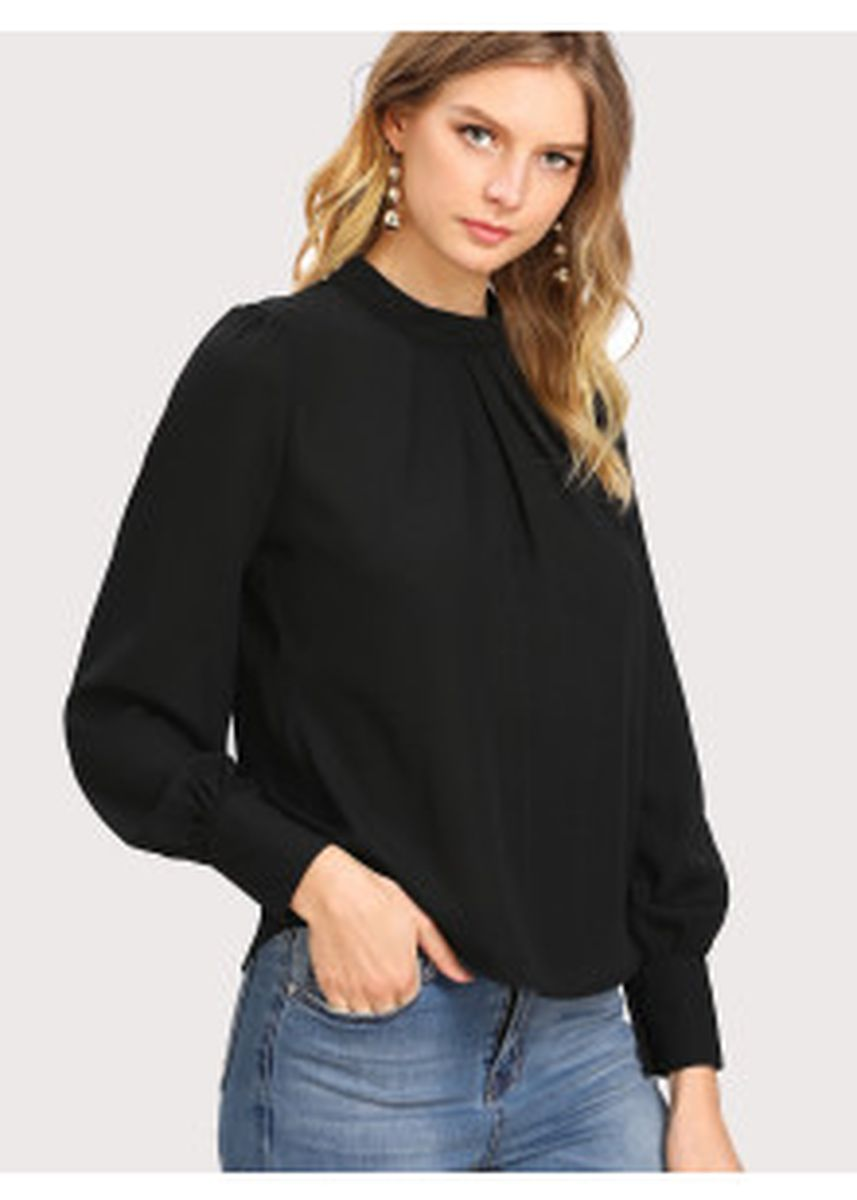 Black color Tops and Tunics . Puff Sleeve Pleated Detail Blouse -