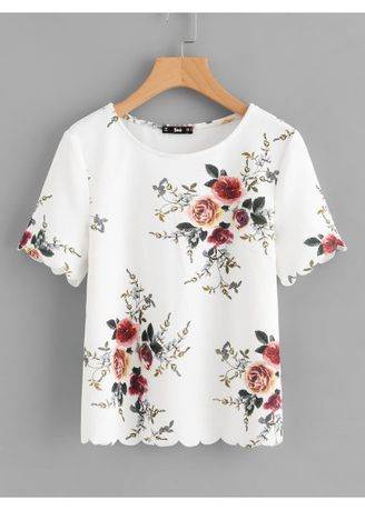 White color Tops and Tunics . Flower Print Scalloped Top -