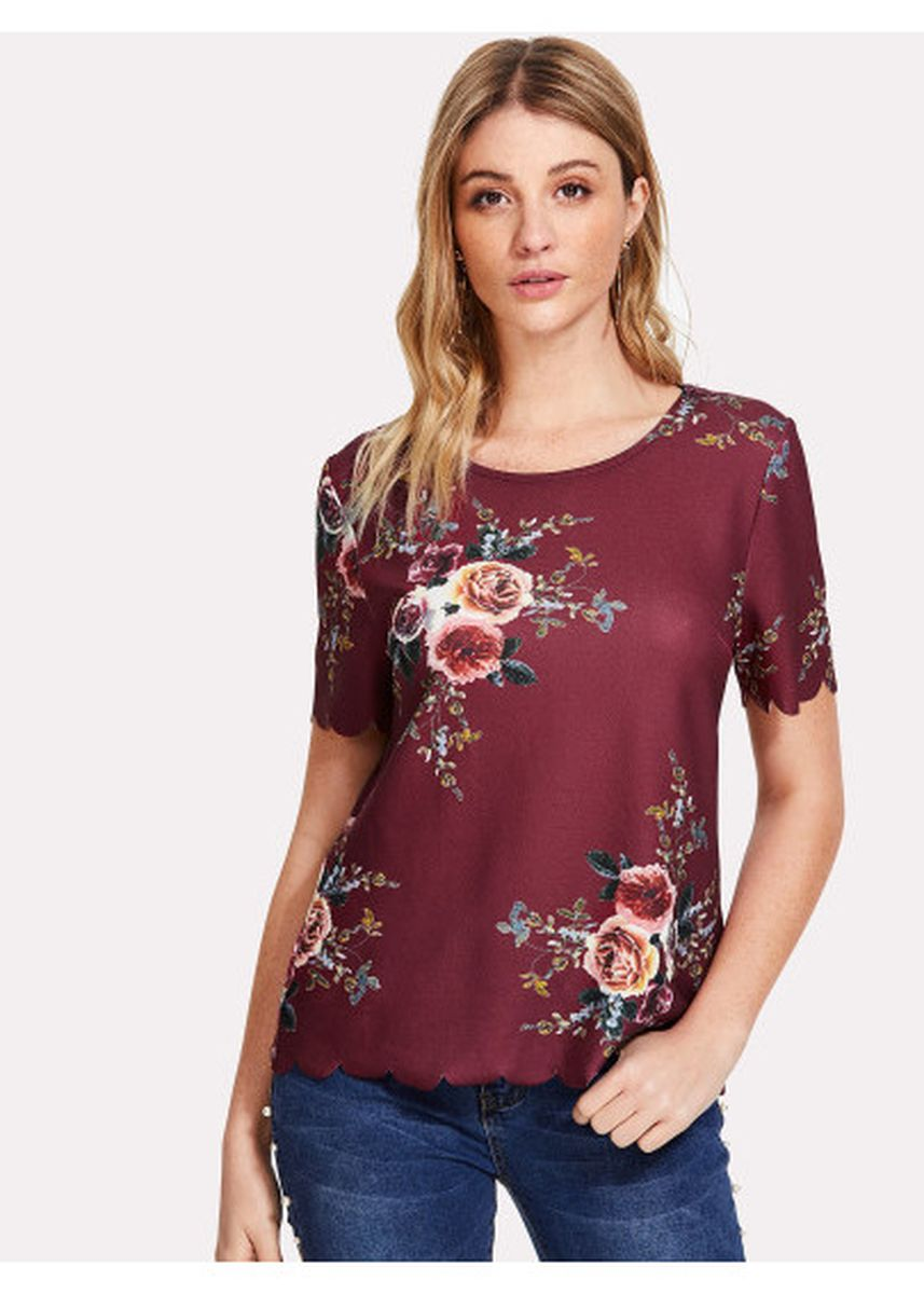 Maroon color Tops and Tunics . Flower Print Scalloped Top -