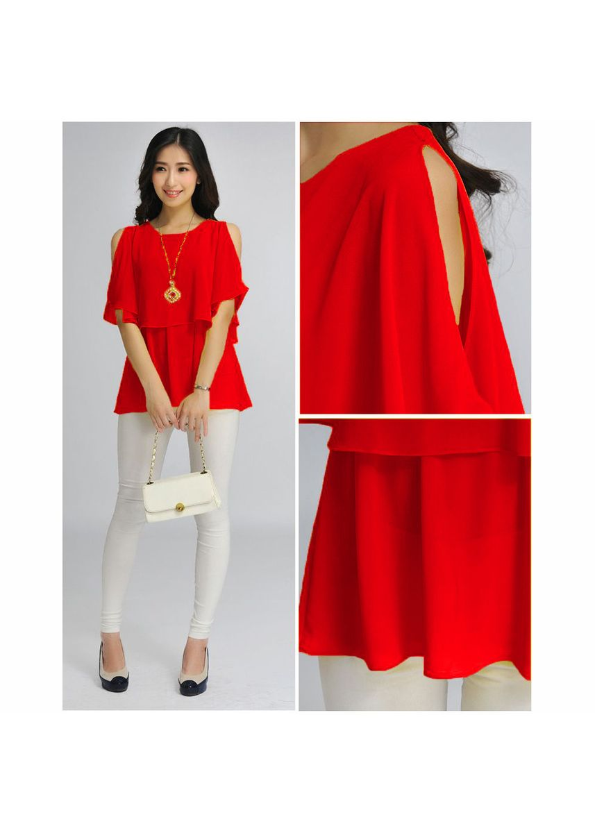 Red color Tops and Tunics . BTS Elisabeth Blouse -
