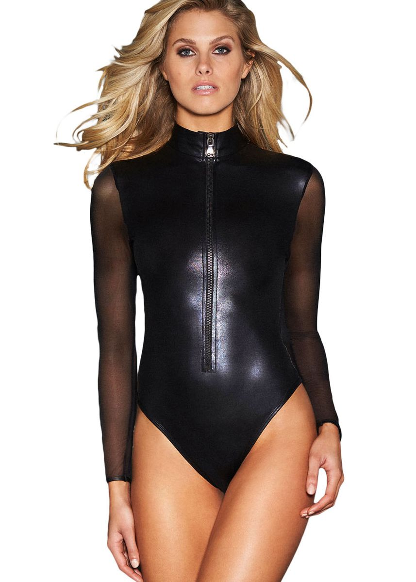 Black color Tops and Tunics . Mesh Long Sleeve Zip Front Leather Bodysuit -