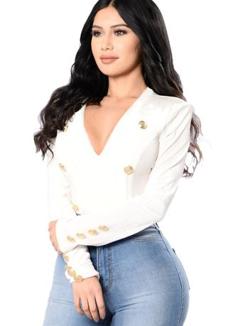 White color Tops and Tunics . Gold Sailor Button Detail Velvet Bodysuit -