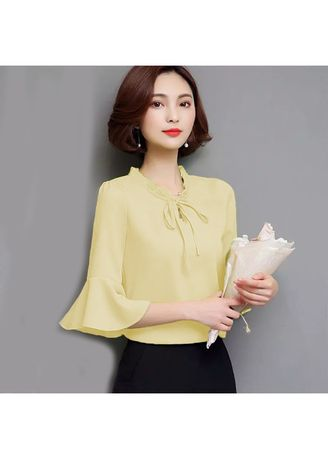 Yellow color Tops and Tunics . BTS Theresa Blouse -