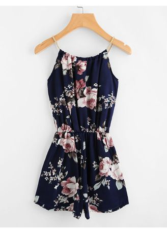 Navy color Jump Suits . Navy Floral Print Random Self Tie Cami Romper -