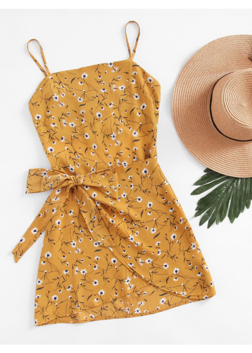 Yellow color Dresses . Ditsy Print Open Back Wrap Hem Cami Dress -