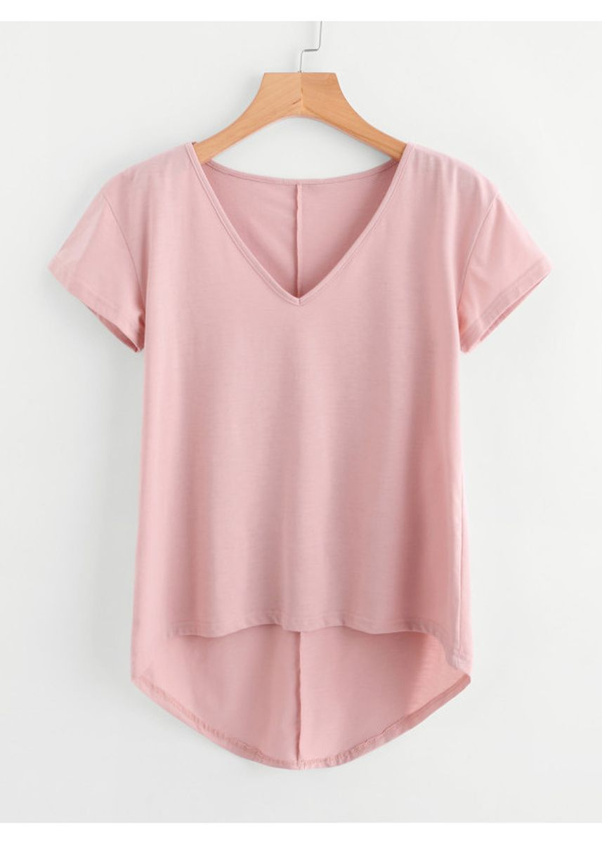 Pink color Tees & Shirts . Solid Dip Hem T-Shirt -