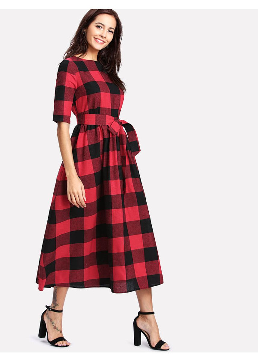 Red color Dresses . Red Buttoned Keyhole Self Tie Checkered Dress -