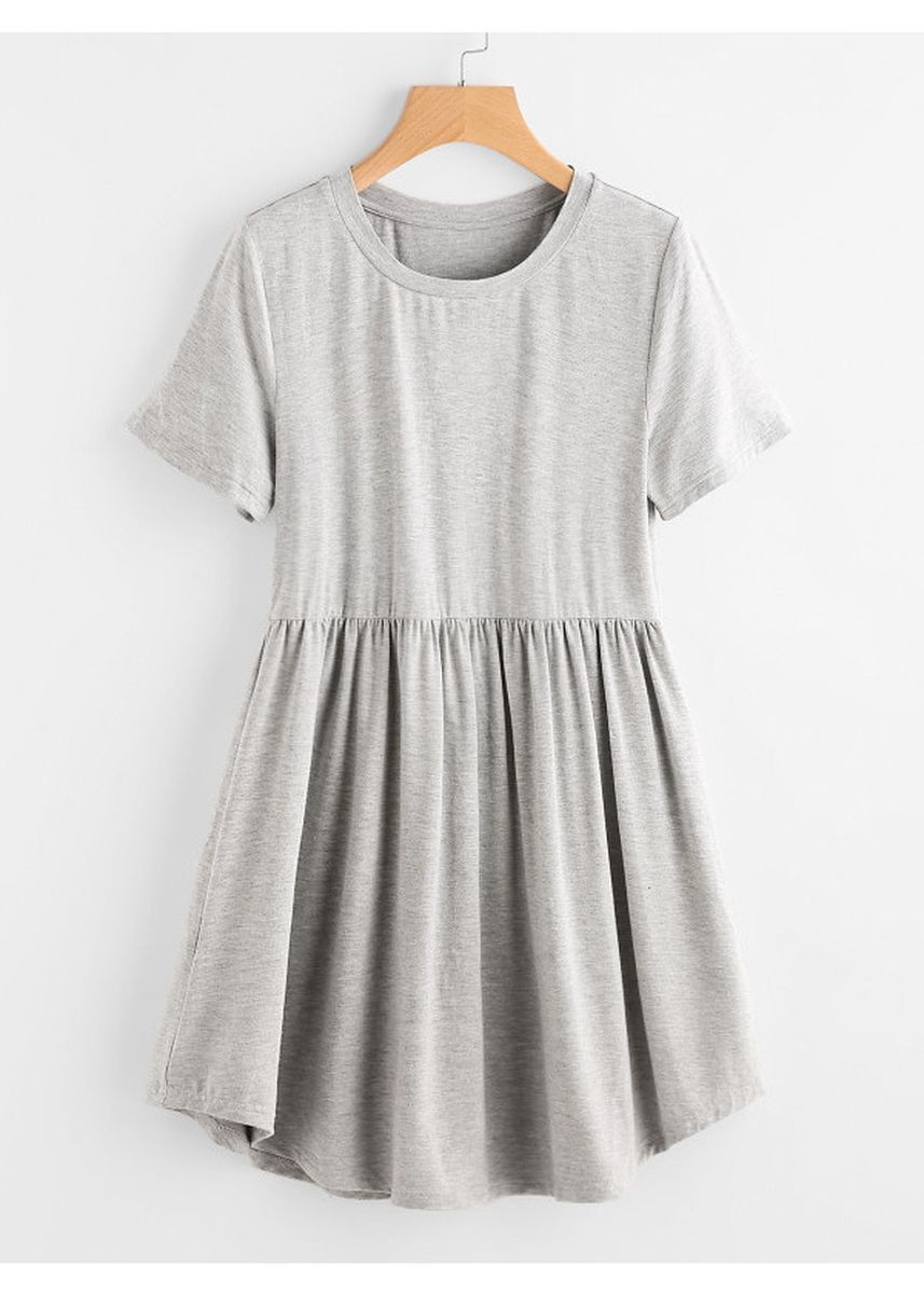 Grey color Dresses . Heather Knit Curved Hem Smock Tee Dress -