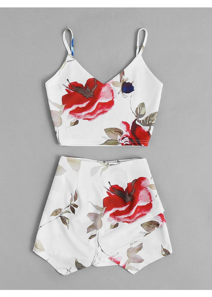 White color Tops and Tunics . Random Florals Crop Cami Top With Overlap Skort -