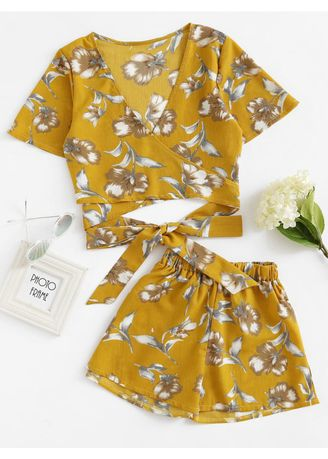 Yellow color Tops and Tunics . Yellow Allover Florals Crisscross Tie Detail Top With Shorts -