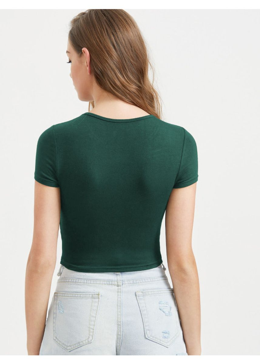 Green color Tops and Tunics . Slim Fit Crop Tee -