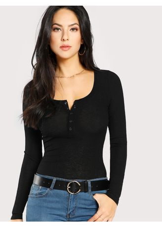 Black color Tops and Tunics . Black Press Buttoned Slim Fit T-Shirt -