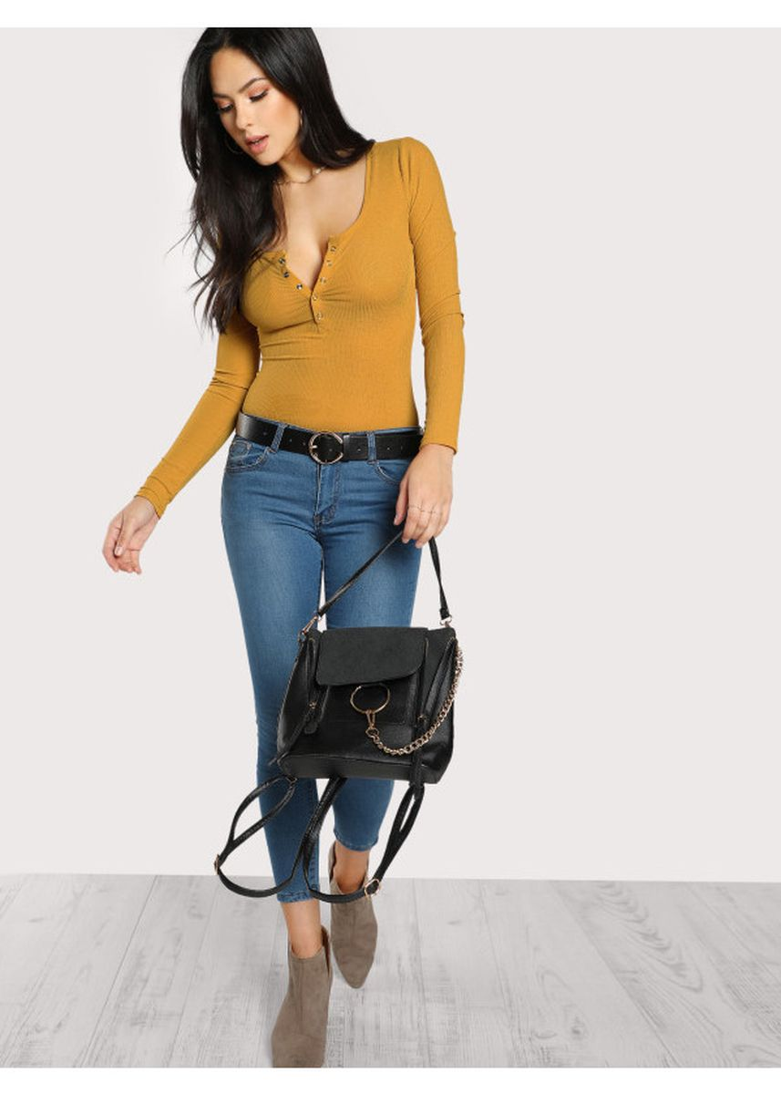 Yellow color Tops and Tunics . Press Buttoned Slim Fit T-Shirt -