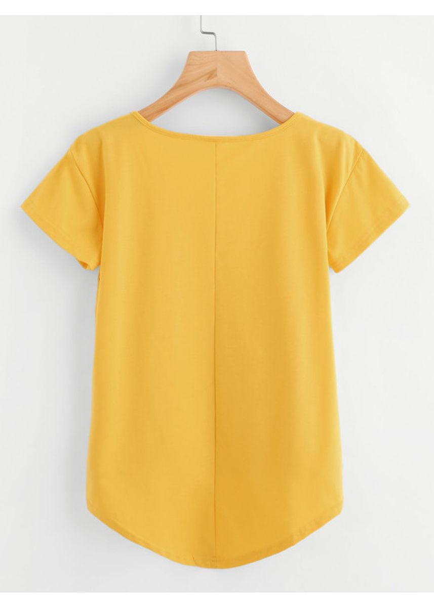 Yellow color Tops and Tunics . Yellow Solid Dip Hem T-Shirt -