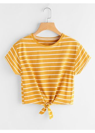 Yellow color Tops and Tunics . Yellow Striped Knot Front Tee -