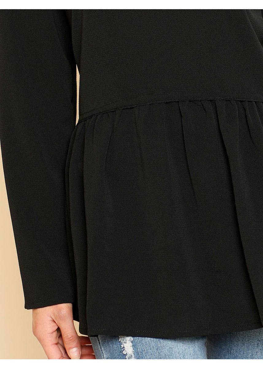 Black color Tops and Tunics . Frill Trim Smock Top -