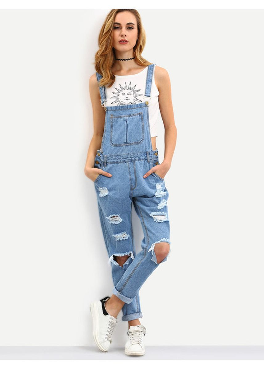 Blue color Jump Suits . Cutout Ripped Denim Dungarees -
