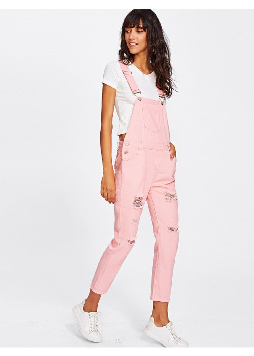 Pink color Jump Suits . Pink Pocket Front Ripped Denim Overalls -