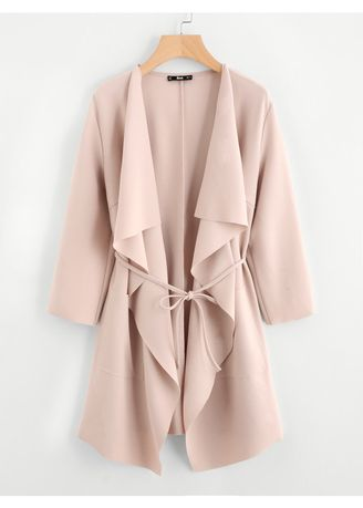 Pink color Jackets . Pink Waterfall Collar Front Wrap Coat -