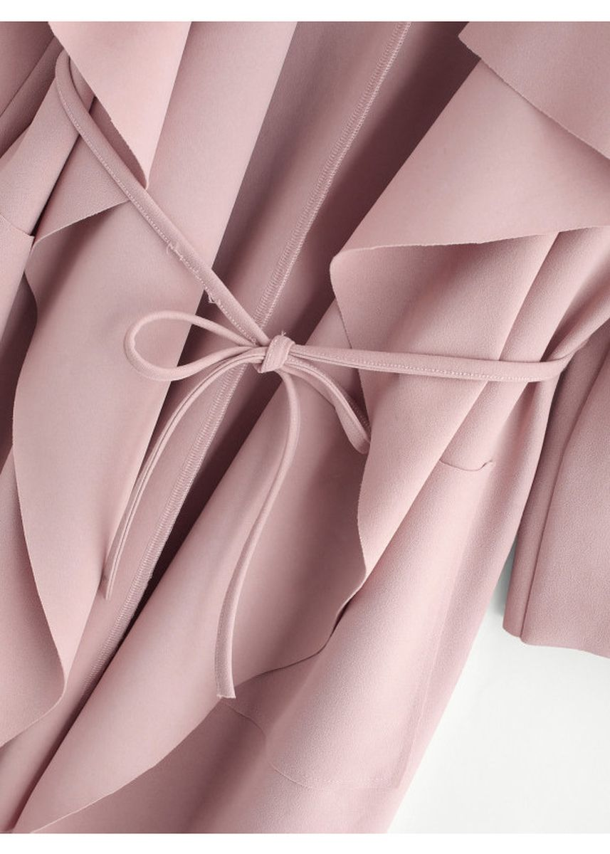 Pink color Jackets . Pink Waterfall Collar Pocket Front Wrap Coat -