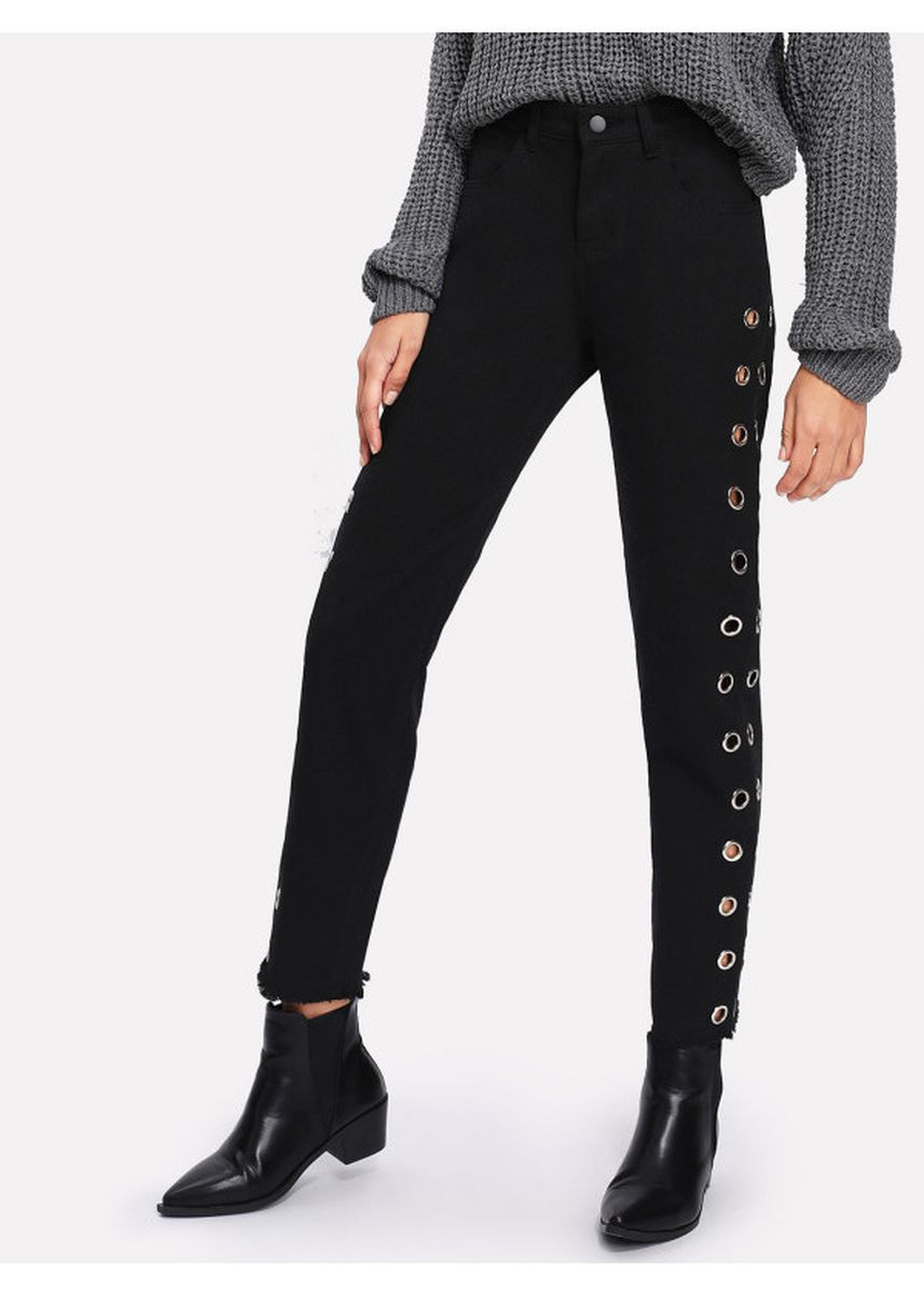 Black color Jeans . Grommet Detail Raw Hem Jeans -