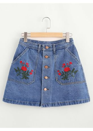 5de358764e Floral Embroidered Single Breasted A Line Denim Skirt