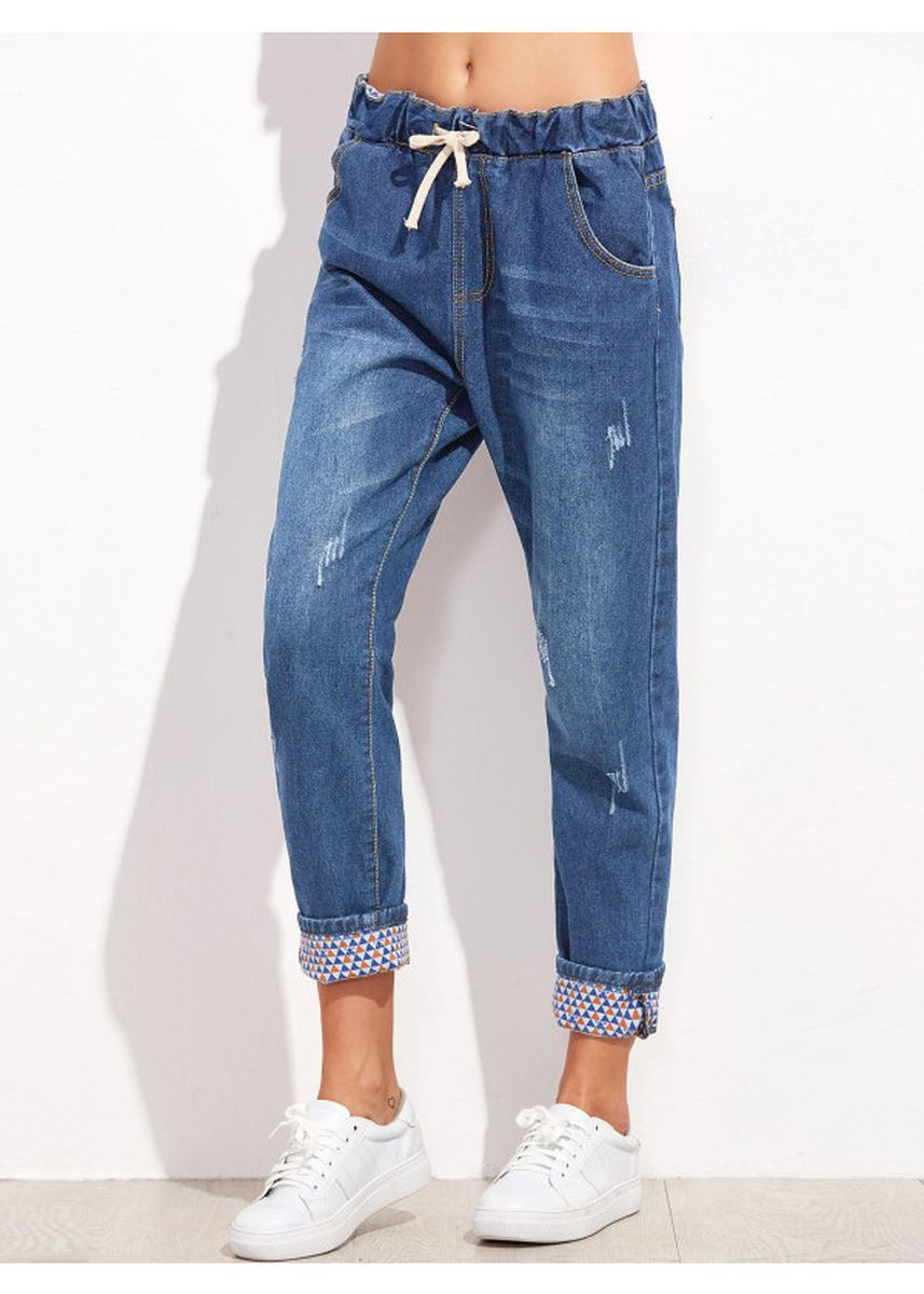 Blue color Jeans . Blue Drawstring Cuffed Jeans -