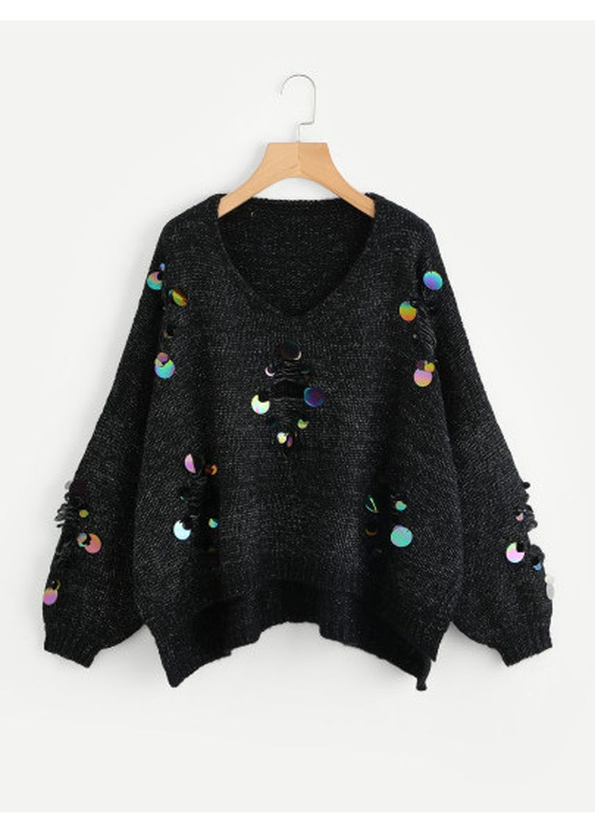 Black color Jackets . Iridescent Sequin Ripped Marled Knit Jumper -