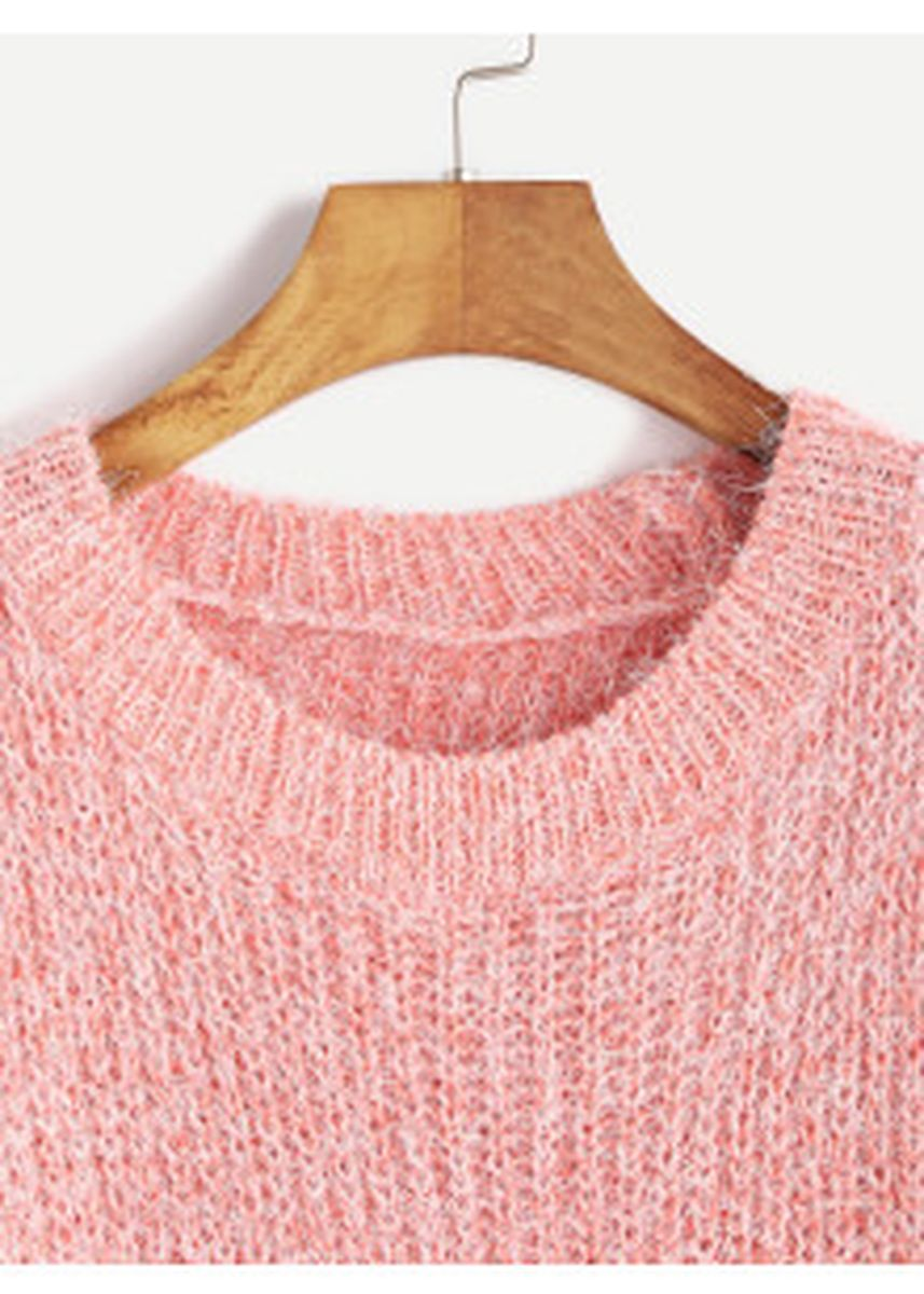 Pink color Jackets . Pink Fuzzy Chunky Knit Sweater -
