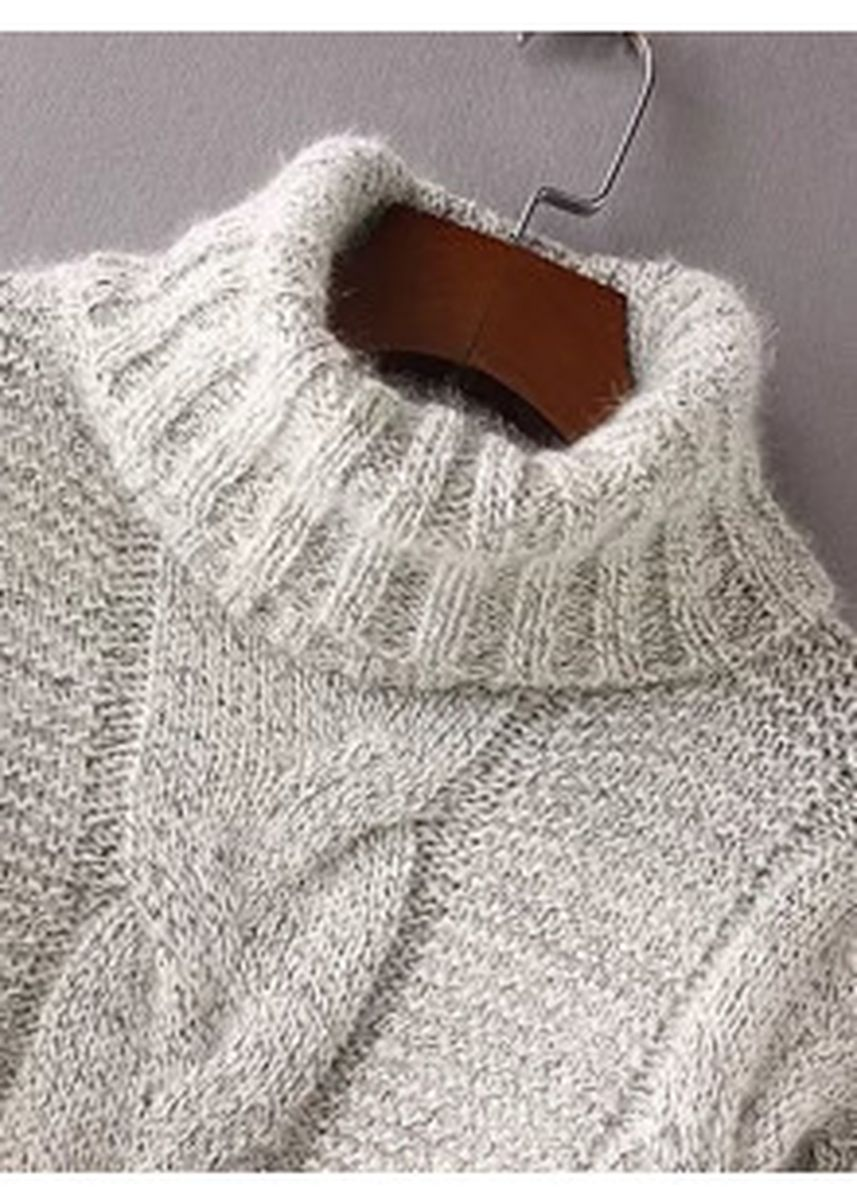 Grey color Jackets . Cable Knit Turtleneck Sweater -
