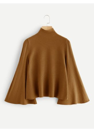Brown color Jackets . Brown Mock Neck Bell Sleeve Jersey Sweater -