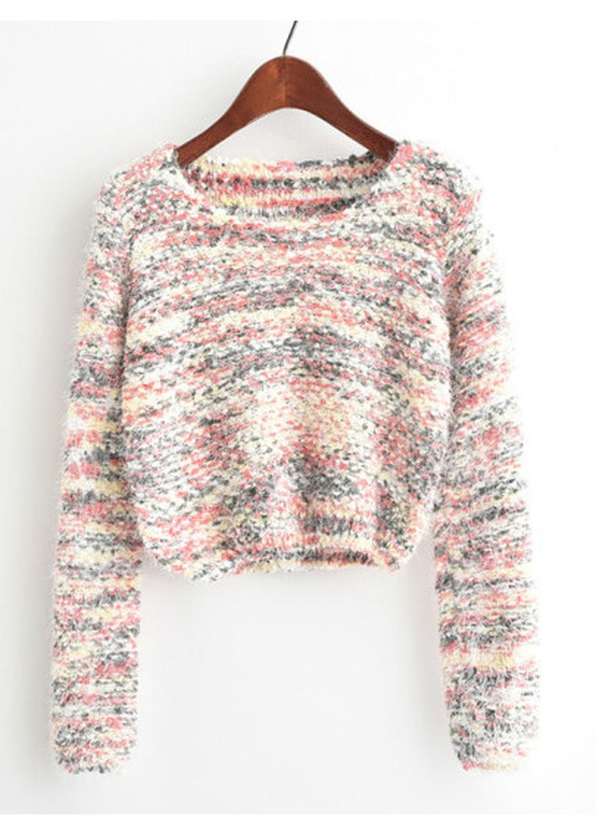 Pink color Jackets . Round Neck Crop Knit Sweater -