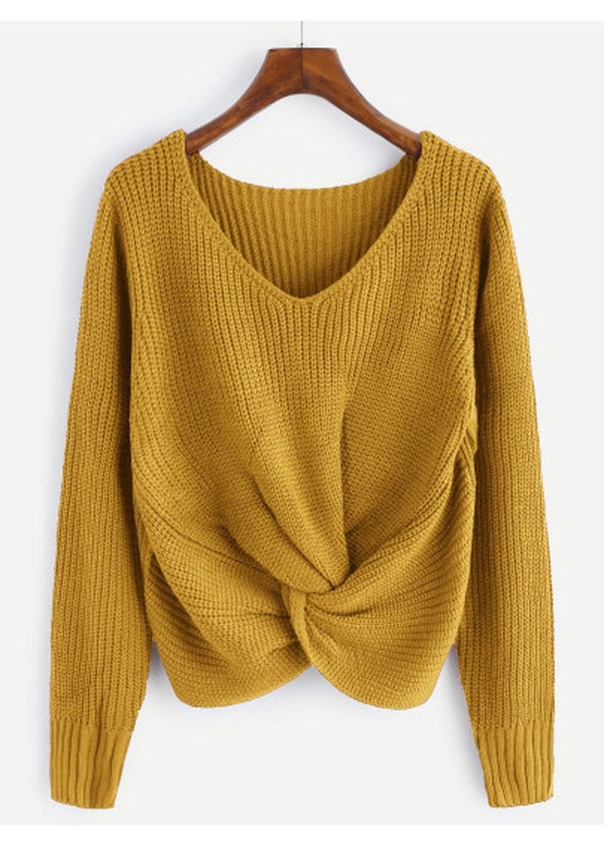 Yellow color Jackets . Yellow V-Neckline Twist Front Chunky Knit Sweater -