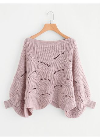 Pink color Jackets . Loose Knit Scalloped Dolman Sweater -