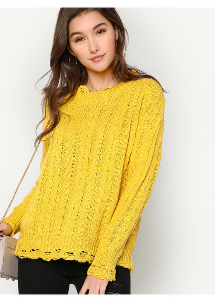 Yellow color Jackets . Cable Knit Sweater With Distressed Detail YELLOW -