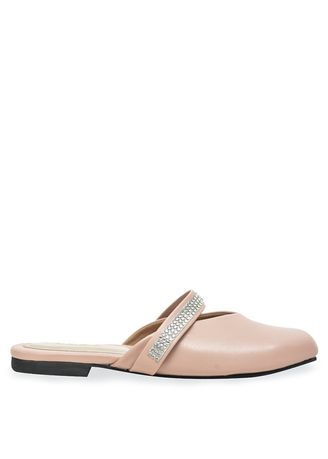 Pink color Sandals and Slippers . Urban Looks - Agnes Nude Pink Flat Mules -