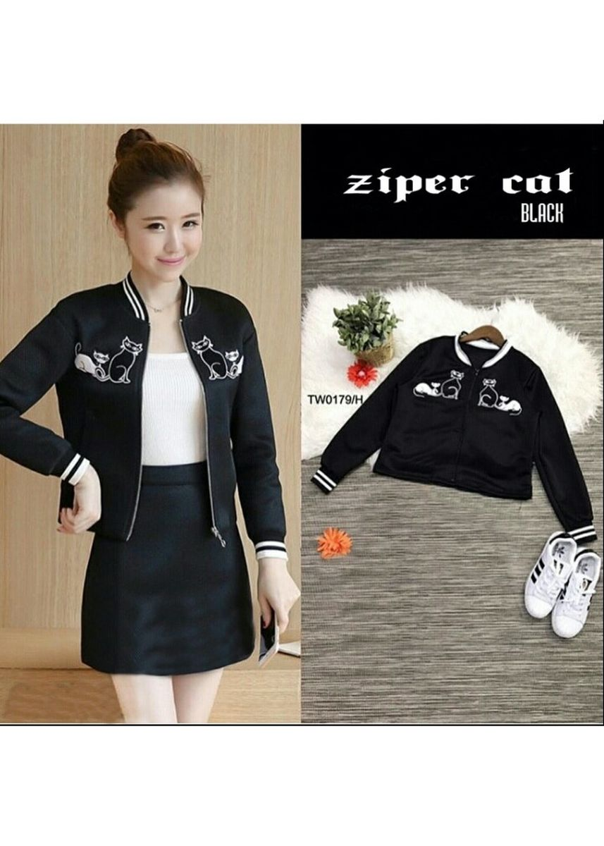 Black color Jackets . BTS Ziper Cat -