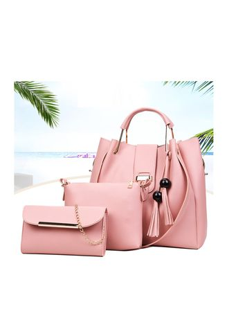 Pink color Hand Bags . Casual Leather Handbag sets -