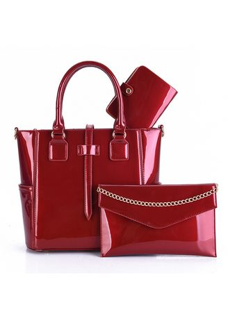 Red color Hand Bags . Shinny Modern Fashion Handbag sets -