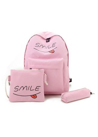 Pink color Backpacks . Smile Printed Backpack sets -