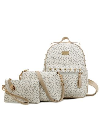 White color Backpacks . Arrow Wine Cup Printed Backpack sets -