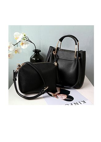 Black color Hand Bags . Plain Leather Handbag sets -