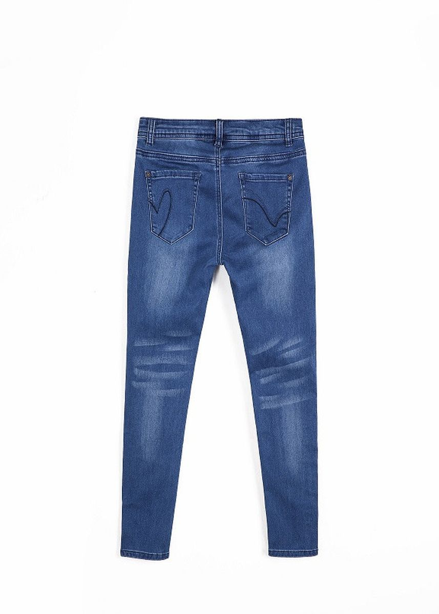 Blue color Jeans . Stretchy Skinny Jeans With Fiber Tape -