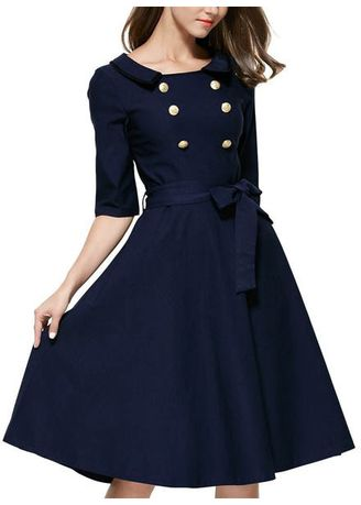 Blue color Dresses . Women Double Breasted Lapel Collar Belted A Line Dress -