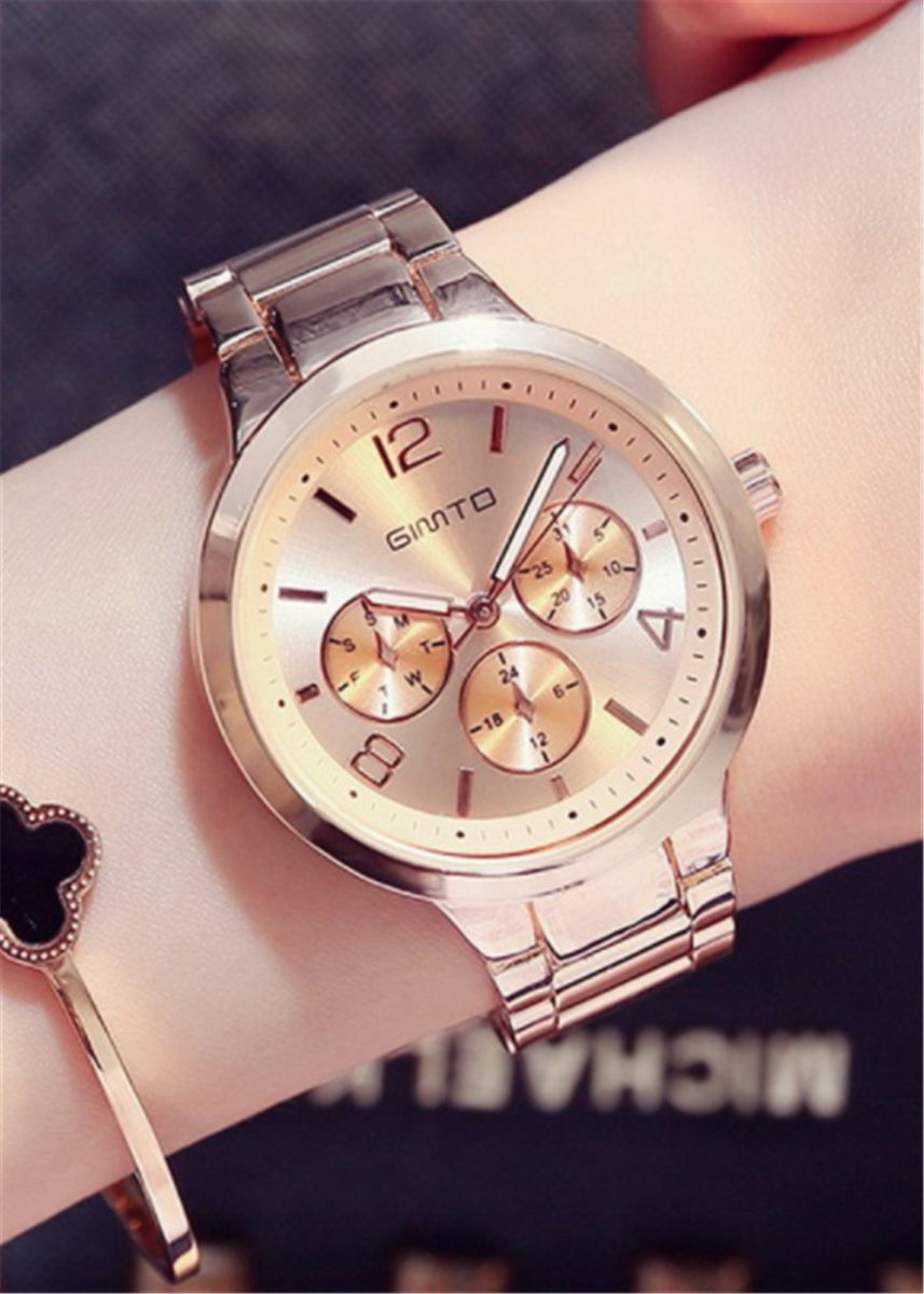 ทอง color โคโนกราฟ . Women's Steel Band Fashion Wristwatch -
