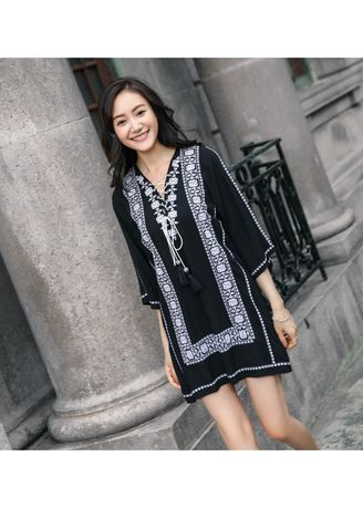 ดำ color เดรส . New Black Bohemian Dress -