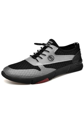 Black color Casual Shoes . Men's Walking Breathable Fashion Sneakers -